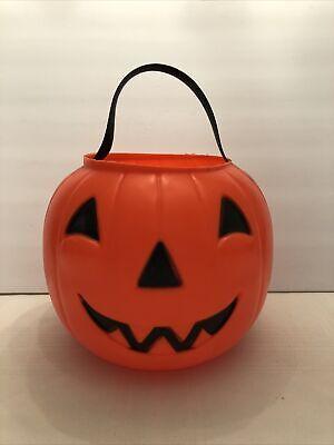 Rare Vintage Pumpkin Halloween Empire Plastics Blow Mold Trick Treat Pail Bucket