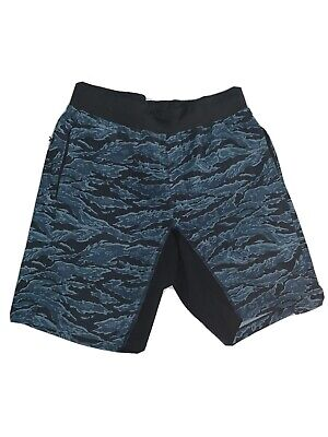 "LULULEMON T.H.E. Short 9"" Linerless M Tiger Camo Multi Blue Shorts Gym Run"