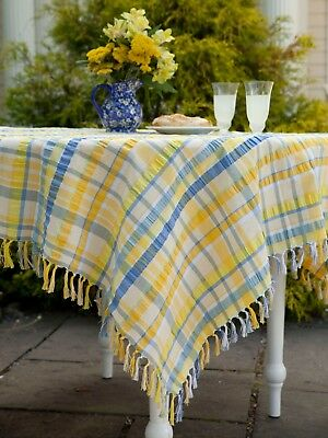 April Cornell Tablecloth Provence Seersucker Collection NWT 100% Cotton Yellow