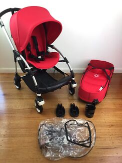 Bugaboo bee 3 Pram Stroller With Bassinet Red Accessories bee3 Ruby
