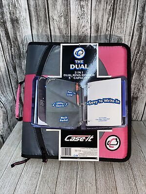 Nwt Case It The Dual 2 In 1 Dual Ring Binder 3 Capacity Aa