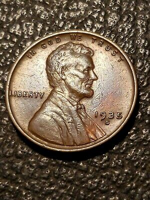1935 S Lincoln Wheat Penny XF Doubled Profile Obv. & Lamination Mint Error -