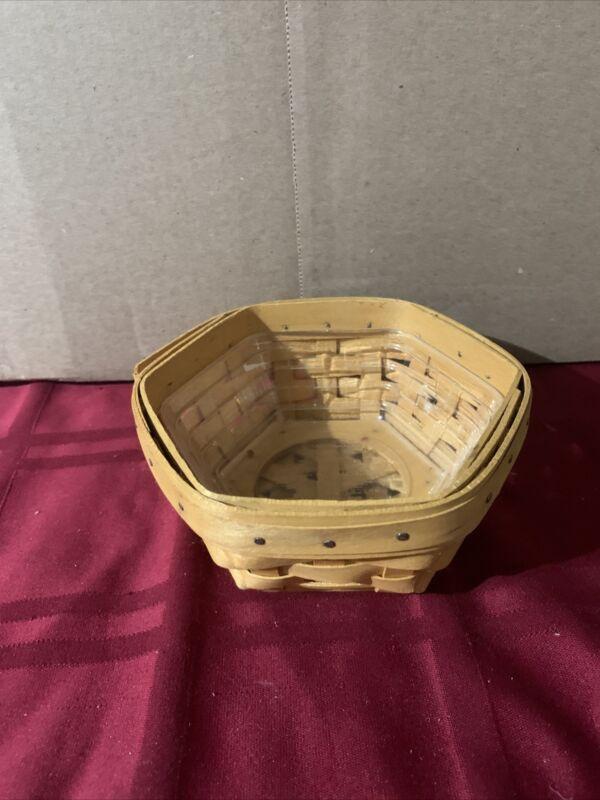 2001 Longaberger Sage Booking Basket with Vinyl Protector, Handwoven USA