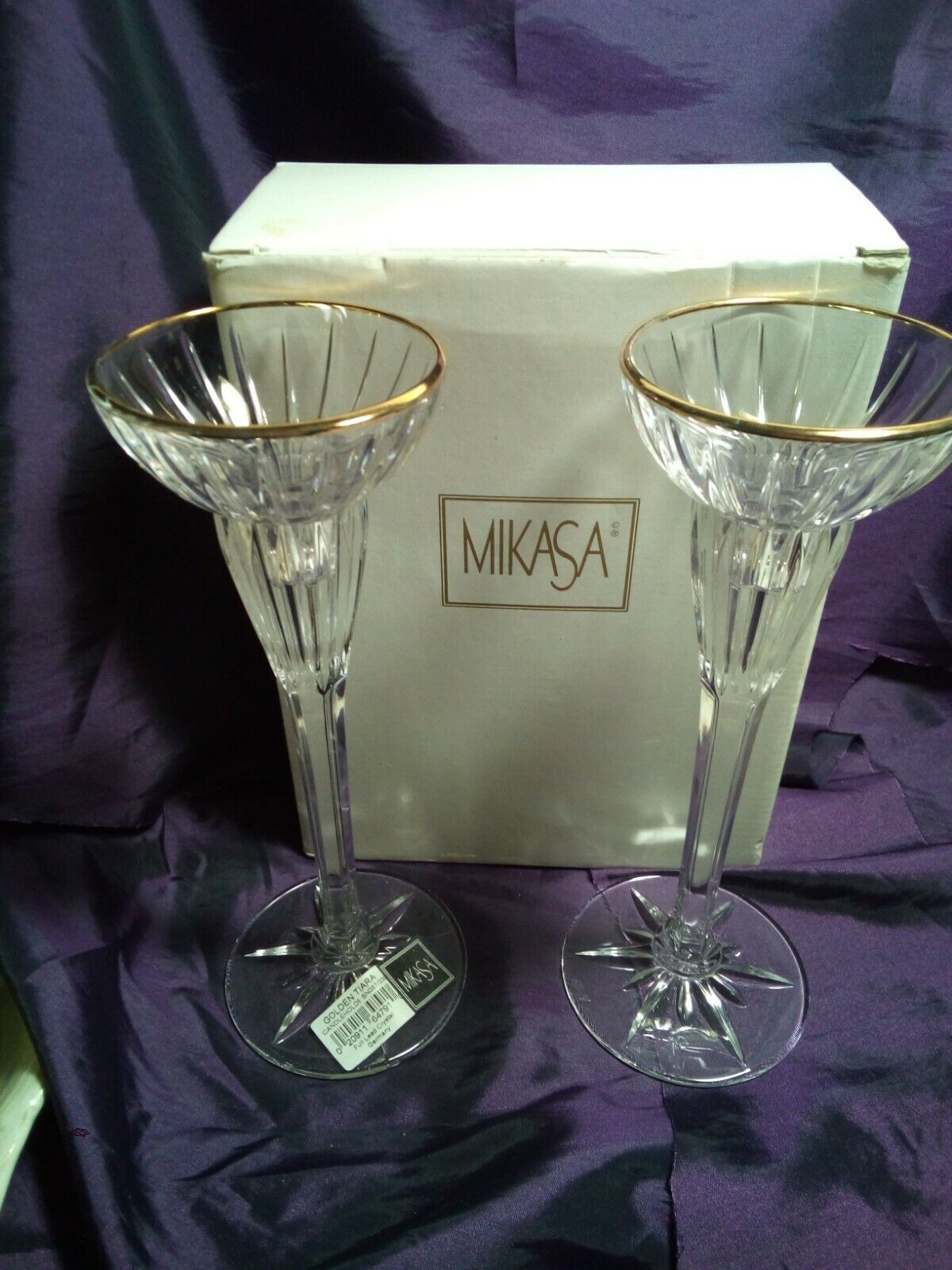 Pair Of MIkasa Golden Tiara Crystal Candle Holders Gold Trim Candlesticks New - $15.00