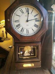 Vtg BULOVA Quartz Pendulum Wall Clock Wood with Plaque 22.5 x 12 Works Great!