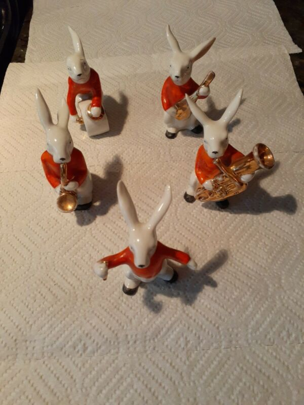 BUNNY BAND ORCHESTRA MEMBERS & INSTRUMENTS 5 Ceramic Figurines E&R PHILA Germany