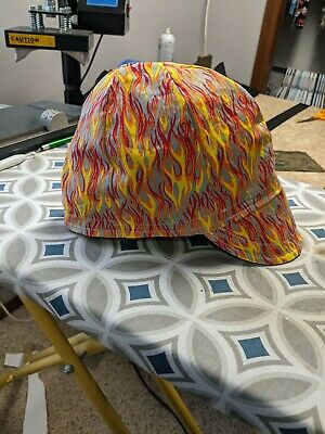 Wendys Welding Hat Made With Orange Flames Fabric New
