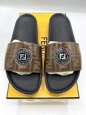 Fendi Vetrificato FF Brown Leather Logo Slides Sandles Size UK9/US10