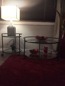 Glass and Metal Coffee Table and 2 End Tables Rosetown, SK