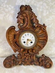 Black Forest Wall Clock Wood Case with Scrolls, Flowers, Shells & Wing Carvings