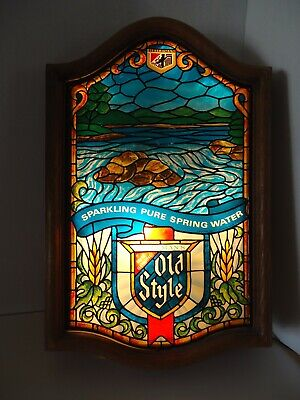 VTG Heileman's Old Style Beer Lighted Bar Sign Faux Stained Glass Spring Water Vintage Old Style Beer