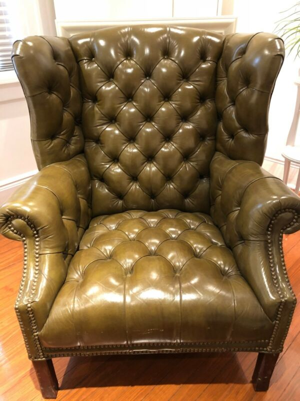 Vintage Chesterfield Style Wing-Back Green Leather Chair