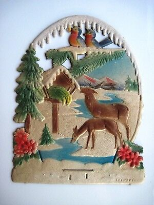 Charming Vintage Christmas German Pulp Sample Advertising Calendar Topper * ()