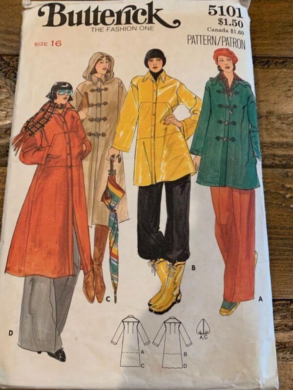 Vintage Butterick 5101 Coat Jacket Pattern 1970