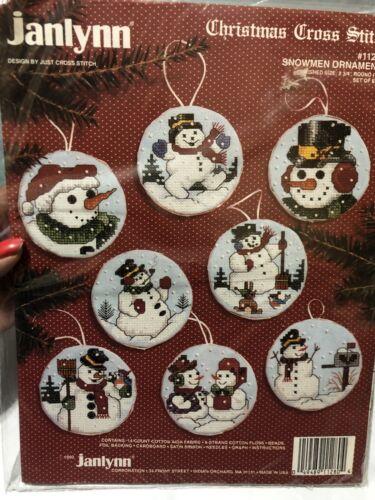 JANLYNN SNOWMEN ORNAMENTS - 8 CHRISTMAS Cross Stitch #112-80
