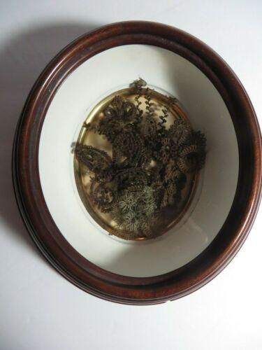 Victorian Mourning Hair Art Flower Wreath Small Oval Walnut Shadowbox Frame