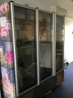 Industrial glass 3 door fridge
