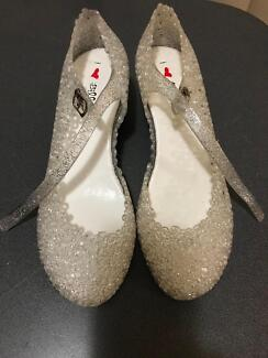 Silver Sparkle Jelly Shoes