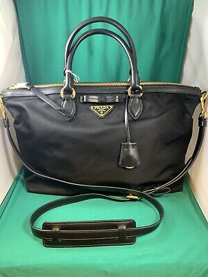 PRADA Tessuto Black Nylon Leather Trim Gold Hardware Shopping Tote Bag Italy