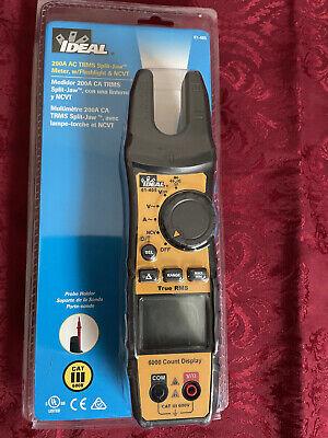 Ideal 61-405 200-amp Trms Splitjaw Clamp Meter Wflashlight Ncvt