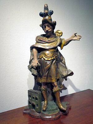 Jahrhundert Holz Geschnitzt (Hl. Florian aus Holz geschnitzt & farblich gefasst zweite Hälfte 18 Jahrhundert)