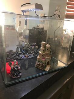 Aquarium / Tank with light & figurines