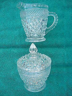 Anchor Hocking Wexford clear pressed Glass Cream Pitcher & Sugar Bowl Set