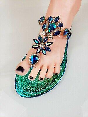 Bella Luna Flong 01 Rhinestone Jeweled Flat Summer Flip Flop Sandal Shoe - Mermaid Shoes