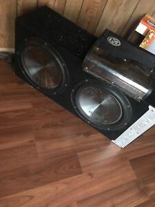 """2 10"""" clarion sun & Memphis amp"""