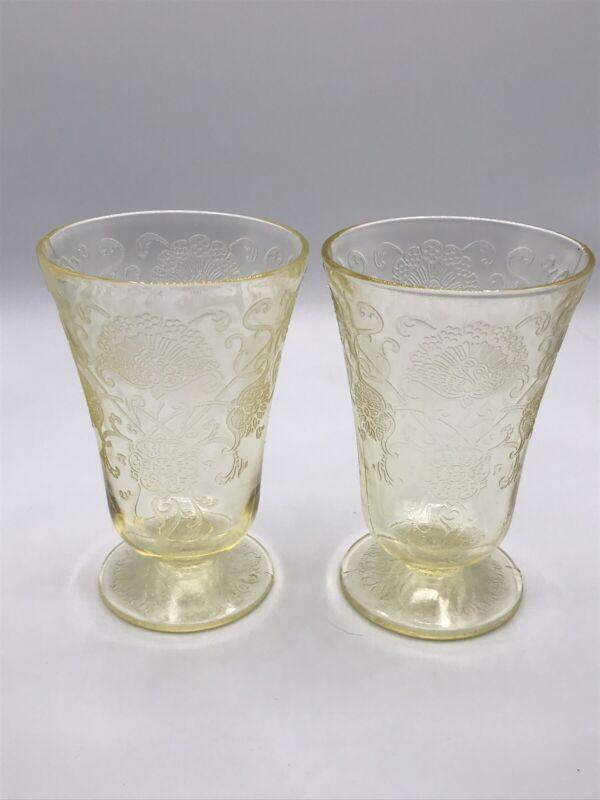 Hazel Atlas Yellow Depression Glass FLORENTINE #2 Poppy Footed Juice Tumblers 2