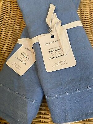 """Williams Sonoma Washed Linen  Table Runner 18""""  X 108"""" Blue New Italy"""