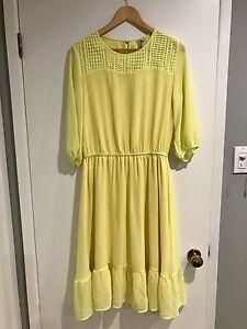 New Yellow long sleeve midi dress with lace yoke