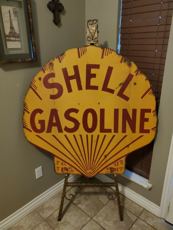 Rare Shell Advertising Sign 42 Inch Porcelain