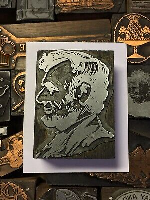 Large Antique Vtg Abraham Lincoln Letterpress Print Type Cut Ornament Block