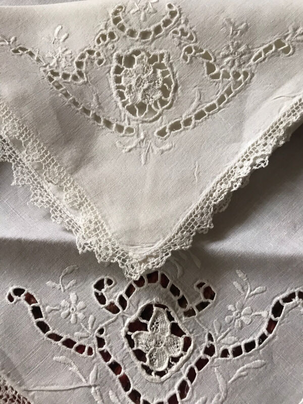"Set of 14 Old VTG Madeira Linens Point Venice Lace Embroidery Napkins 16"" Square"