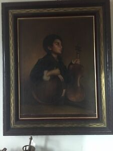 Boy holding a violin antique painting