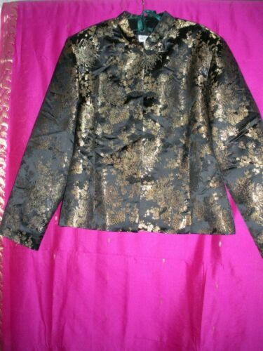 CHINESE, BLACK JACKET W/ GOLD COLORED DESIGNS, SZ. M/L., NEW.