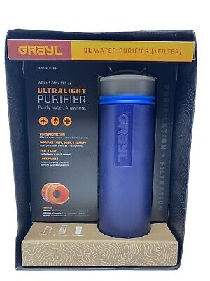 GRAYL Blue UL 16 oz Ultralight Water Purifier + Filter. Brand New