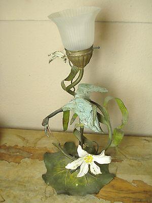 alte Jugendstil Lampe Leuchte Tischleuchte Tischlampe Vogel Metall Seerose antik