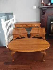 Solid Oak Sofa, Coffee and 2 End Tables