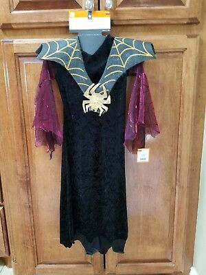 Girls Spider Countess Witch Halloween Costume Size S(4-6)
