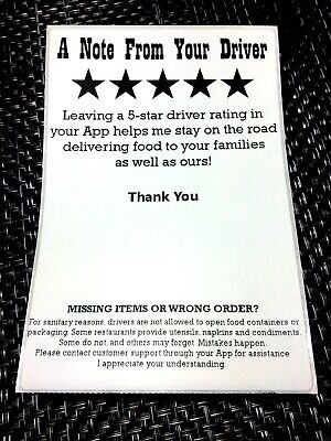 100pcs * DoorDash Postmates UberEats GrubHub * 5-Star Rating Sticker Labels
