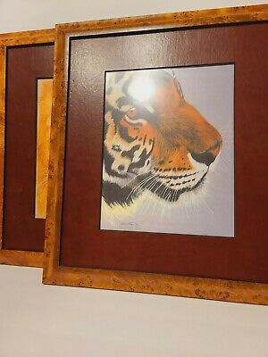 Lot Of 2 Framed Art Lion And Tiger Vintage 1994 By D Harrison