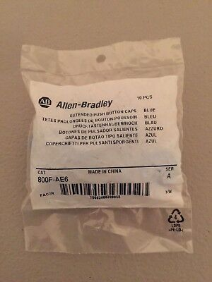 NEW IN PACKAGE ALLEN-BRADLEY BLUE PUSH BUTTON CAPS 800F-AE6 BAG OF 10