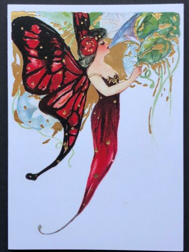Blank Art Note Card FAIRY WINGS Schmucker red NOS Pleiades Press #153 gold foil