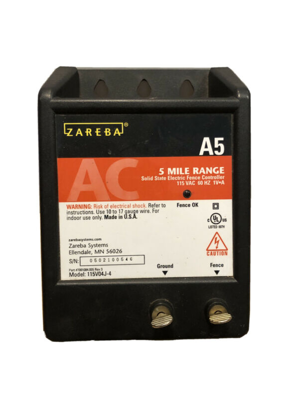 ZAREBA 5 MILE RANGE AC ELECTRIC FENCE CHARGER / CONTROLLER