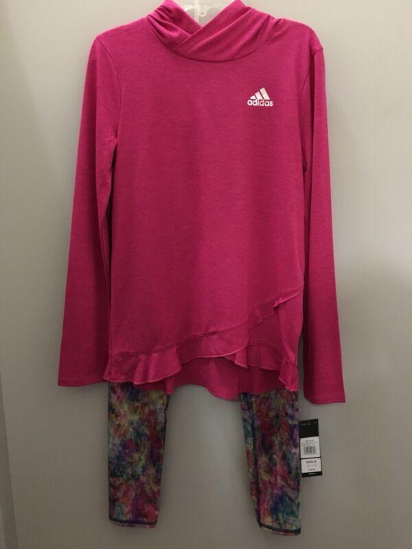 ADIDAS Girls Size 16 Long Sleeve Shirt & Leggings 2 Piece Climalite Set NWT $67
