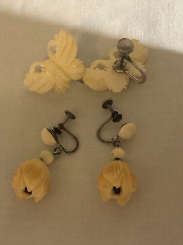 Vintage Bone Flower Butterfly  Screw Earrings Set of 2