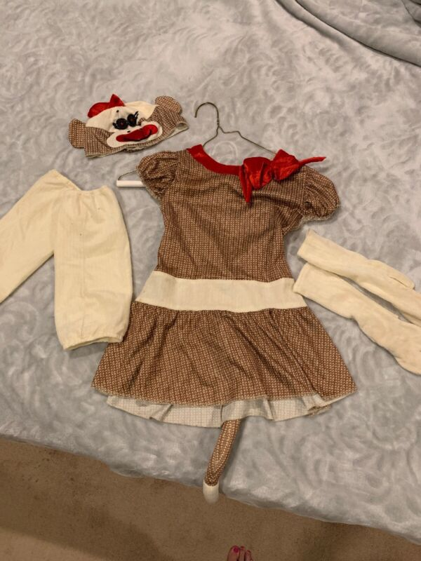 Unique Sock Monkey Dress Up Costume Dress Kids M 8-10 Accessories