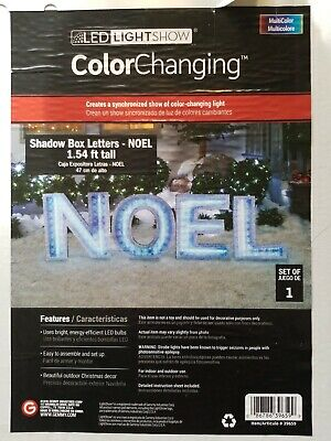 Gemmy LED Color Changing Lights Shadow Box NOEL Letters